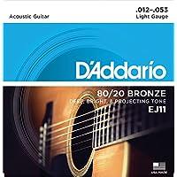 Cuerdas de guitarra acústica D'Addario EJ11 80/20 Bronze, Light, 12-53