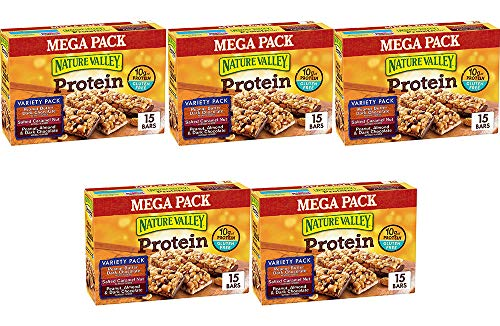 Nature Valley Peanut Butter Dark Chocolate, Salted Caramel Nut, Almond & Protein Chewy Bars, 15 Bars (5 Boxes) by Nature Valley (Image #1)