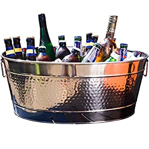BREKX Aspen Hammered Stainless Steel Beverage Tub & Party Drink Chiller - 25 Quarts