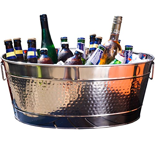 Stainless Steel Party Tub - BREKX Aspen Hammered Stainless Steel Beverage Tub & Party Drink Chiller - Large - Silver