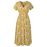 old dresses for women - Birdfly Women Casual Breezy Floral Print Chiffon Thin Dress for Casual Daily Plus Size 2L. (2XL, Yellow)