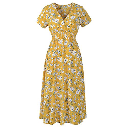 WEUIE Yellow Dress for Women Womens V Neck Holiday Floral Print Dress Summer Beach Party Long Maxi Dress