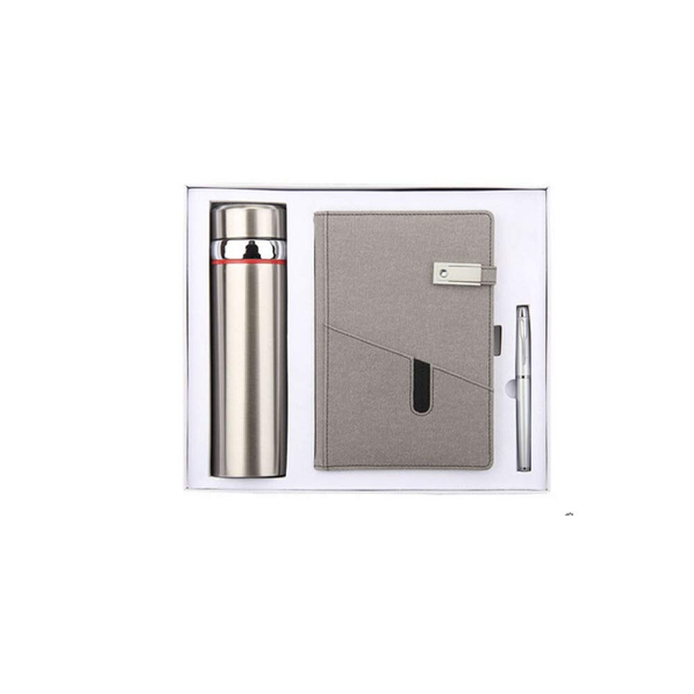 WUZHONGDIAN Notebook Magazine, Exquisite with Insulated Cup Notebook, Pager Gift - for Diary Notes Diary and Plan - Three-Piece Gift Box / 100 Sheets Office Supplies ( Color : Gray )