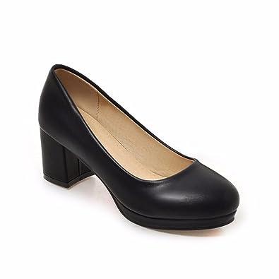 RFF-Women's Shoes Professionelle High Heels Wasserdicht Tabelle, Reine Farbe Größe Schuhe, Weiß, 42