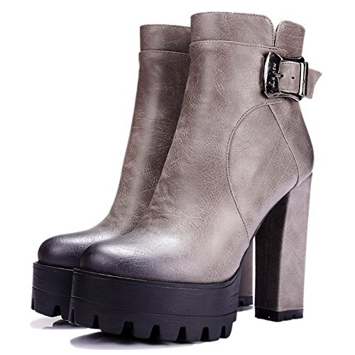 Blend Platform Thread High Allhqfashion with Women's Heels Materials Gray Boots Microfibre and ZBREqw