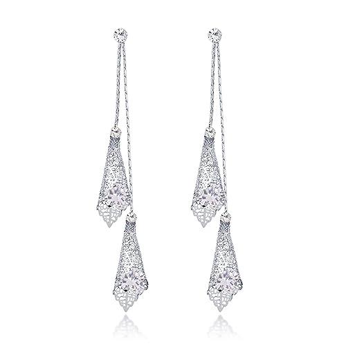 9297feeb6 Samkeen Art Deco Cubic Zirconia Vintage Wedding Dangle Chandelier Silver  Earrings for Bridal or Prom