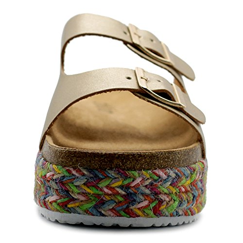 Boho Two Platform Espadrilles Ollio Women's Strap Gold Shoe On Sandals Cork Slip qRqCIOS
