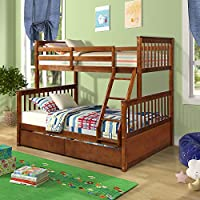 Harper&Bright Designs Twin-Over-Full Bunk Bed with Ladders and Two Storage Drawers, Walnut