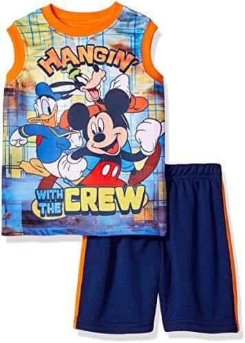 Disney Big Boys' Mickey Mouse Short Set with Tank Tee