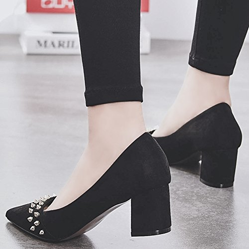 HooH Women's Kitten Heel Pumps Pointed Toe Studded Chunky Pumps Slip On Black MQW8WZrM4