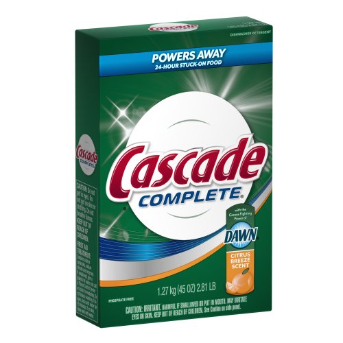 Cascade Complete All-In-1 Powder Dishwasher Detergent, Citrus Breeze Scent 45 Oz (Pack of 12) by Cascade
