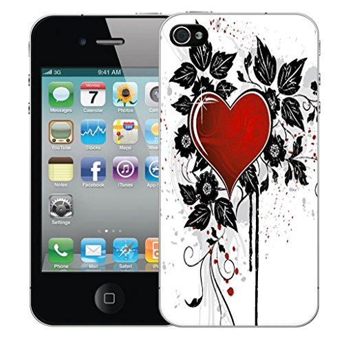 Mobile Case Mate iPhone 4 4s clip on Dur Coque couverture case cover Pare-chocs - rouge cupid heart Motif avec Stylet