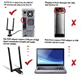 USB WiFi Adapter for PC, Techkey 1750Mbps Dual Band 2.42GHz/450Mbps 5.8GHz/1300Mbps High Gain 5dBi Antennas USB 3.0 Wireless Network Adapter for Desktop Laptop with Windows 10/8/7/XP/Vista, Mac OS
