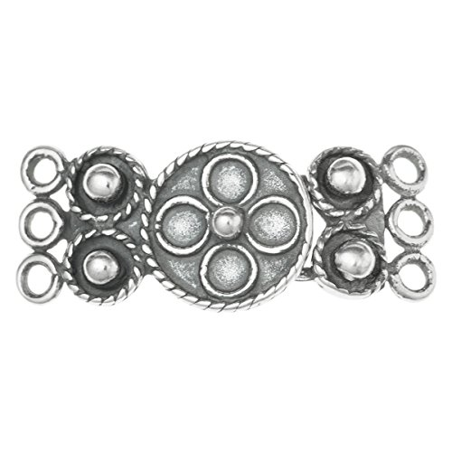 Dreambell 1 Set .925 Sterling Silver 3 Strands Flower Hook Eye Clasp 24mm / Findings/Antique from Dreambell