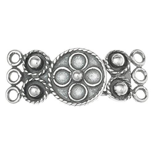 Dreambell 1 Set .925 Sterling Silver 3 Strands Flower Hook Eye Clasp 24mm / Findings/Antique