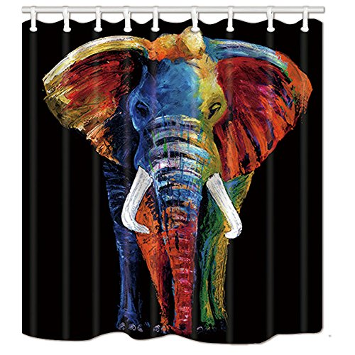 NYMB Wildlife African Safari Decor, Splashing Colorful Boho Animals Elephant in Black Bath Curtain, Polyester Fabric Animal Shower Curtain for Bathroom, 69X70in, Shower Curtains Hooks Included