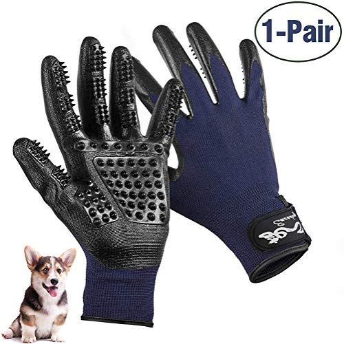 Pet Grooming Glove, Efficient Pet Hair Remover Brush for Bathing, Breathable Deshedding Massage Mitt with Enhanced Five Finger Design - Perfect for Cats Dogs & Horses with Long and Short Fur - 1 Pair (Hide A Pet As Seen On Tv)