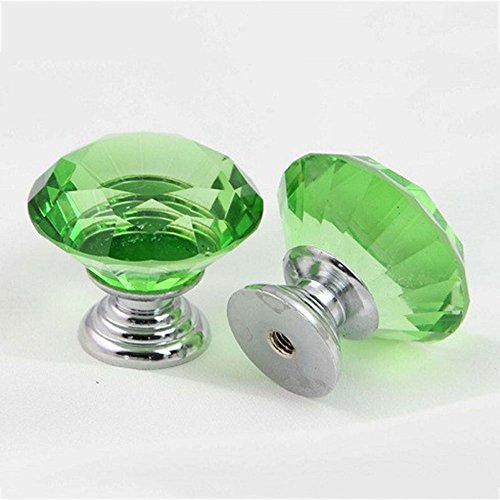Crazy Genie 10Pcs/Set 30mm Diamond Shape Crystal Glass Bedroom Door Cabinets Cupboard Drawers Ceramic Knobs Pull Handles Offer (Green)
