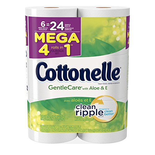 (Cottonelle Gentle Care Toilet Paper, Sensitive Bath Tissue, Aloe & Vitamin E, 6 Mega Toilet Paper Rolls)