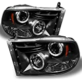 Dodge Ram Pickup Truck Black Bezel Dual Halo Ring LED Projector Headlights Replacement Left + Right