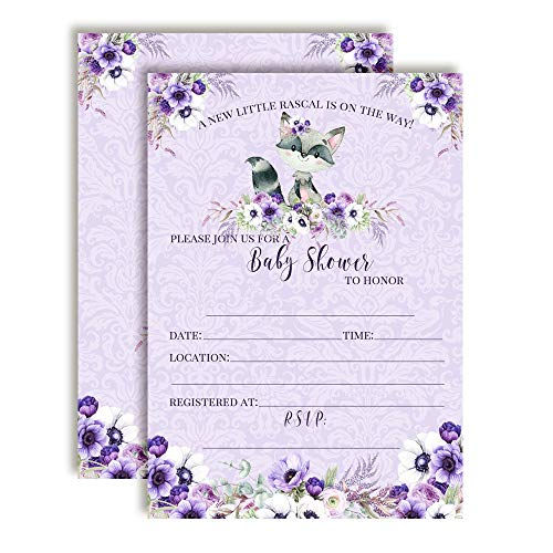 Little Rascal Cute Raccoon-Themed Baby Girl Sprinkle Shower Invitations, 20 5