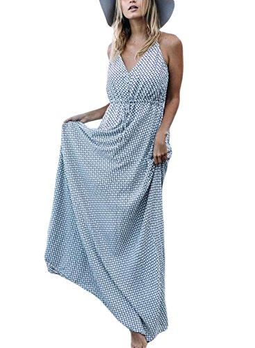 Bohemian Sleeveless (AlvaQ Women Summer Casual Floral Sexy Sleeveless V Neck Bohemian Boho Beach Sleevless Maxi Dress Plus Size Grey)