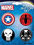 Ata-Boy Marvel Comics Logo Assortment 4 Button Set