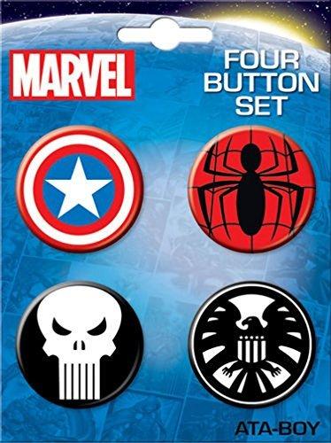 Marvel Comics Spiderman Captain X men Button Set of 4