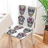 Mikihome Chair Cushion 2 Piece Set Colorful Ornate Mexican Sugar Skull Set with Flower and Heart Pattern Calavera Humor Indoor/OutdoorSoft Thicken Mat:W17 x H17/Backrest:W17 x H36