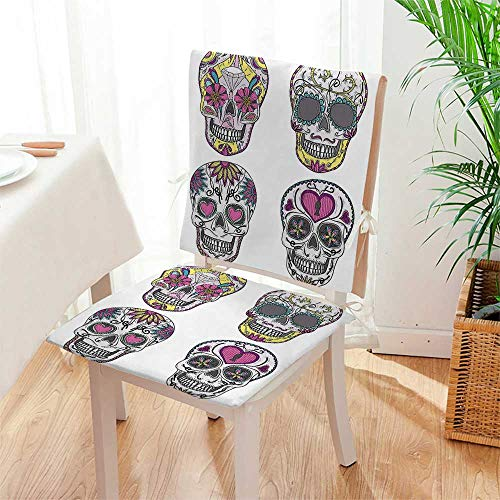 Mikihome Chair Cushion 2 Piece Set Colorful Ornate Mexican Sugar Skull Set with Flower and Heart Pattern Calavera Humor Indoor/OutdoorSoft Thicken Mat:W17 x H17/Backrest:W17 x H36 by Mikihome