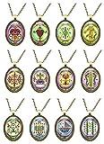 Set of 12 Veve Loa Voodoo Magick Huge Talisman Pendants (Bronze)