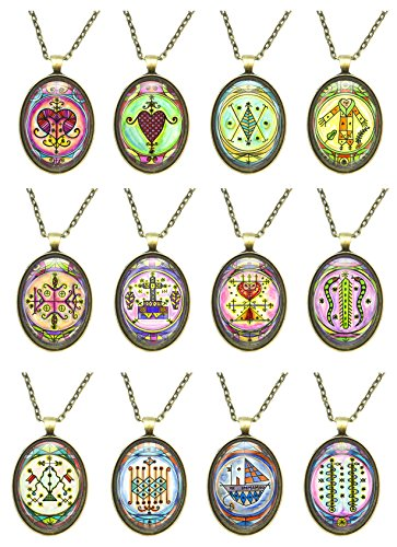 Set of 12 Veve Loa Voodoo Magick Huge Talisman Pendants (Bronze) by My Altar