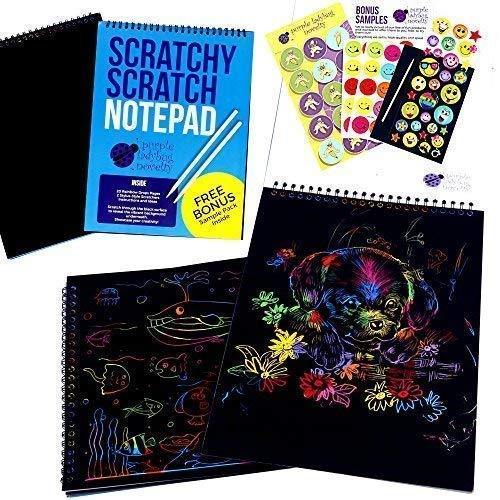 Rainbow Scratch Paper Art Kit for Kids: 20 BIG Sheets of Rainbow Color Scratch Off Paper in a Notepad + 2 Stylus Scratchers - Perfect Gift for Girls or Boys, Travel Activity for Airplane or Car]()