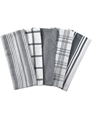 """DII Kitchen Dish Towels (Gray, 18x28""""), Ultra Absorbent & Fast Drying, Professional Grade Cotton Tea Towels for Everyday Cooking and Baking -  Assorted Patterns, Set of 5"""