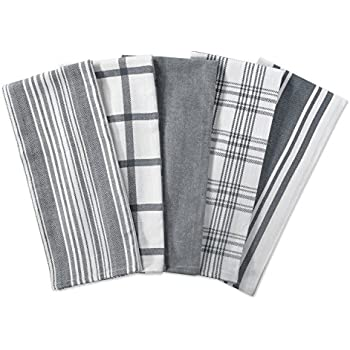 Amazon.Com: Performance 5-Pack Kitchen Towels In Grey: Home & Kitchen