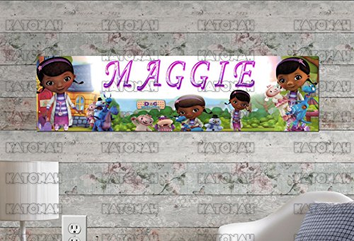 Personalized Doc Mcstuffins Birthday Banner (Customized Name Painting Doc McStuffins Poster with Your Name On It Personalized)