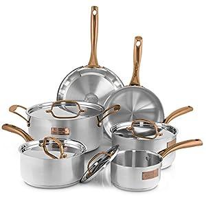 Fleischer & Wolf Stainless Steel Cookware Set (10-Piece) - Copper Trim + Satin Body Cuisine Set-Oven and Grill safe Kitchen Pots and Pans Set - Dishwasher Safe
