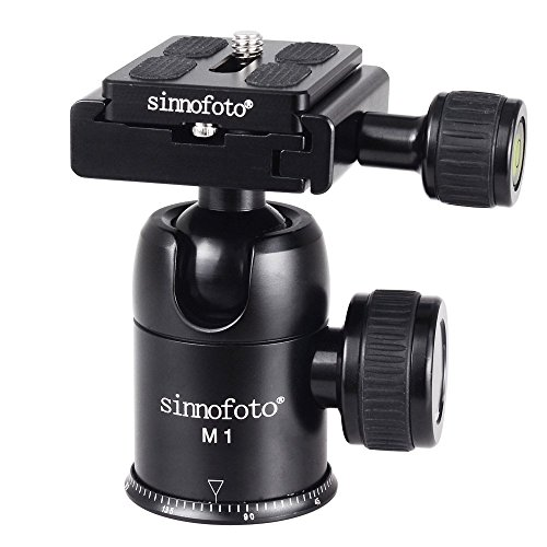Sinnofoto M1 Exquisite CNC Shaped Camera Tripod Ball Head With 1/4 Inch Arca Swiss Quick Fast Plate includes Bubble Level, Max Loading 13.2lbs Ballhead for Tripod,Monopod,Slider,DSLR Camera,Camcorder