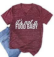 It's Not a Food Baby Funny T-Shirt Women V-Neck Cute Mom Casual Short Sleeve Tee