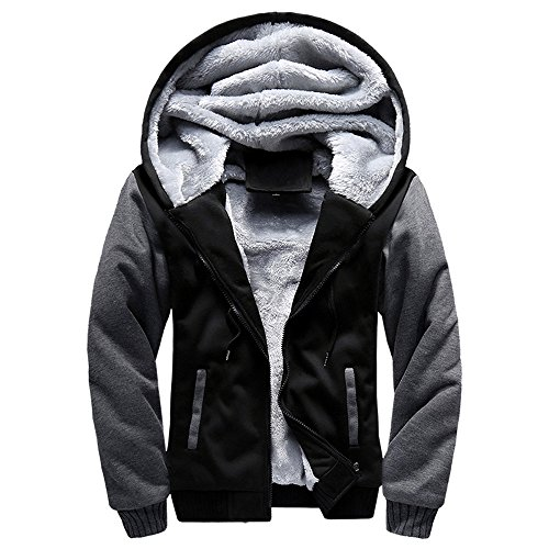 Toimothcn Mens Faux Fur Lined Coat Winter Warm Fleece Hood Zipper Sweatshirt Jacket Outwear (Black,XXL)