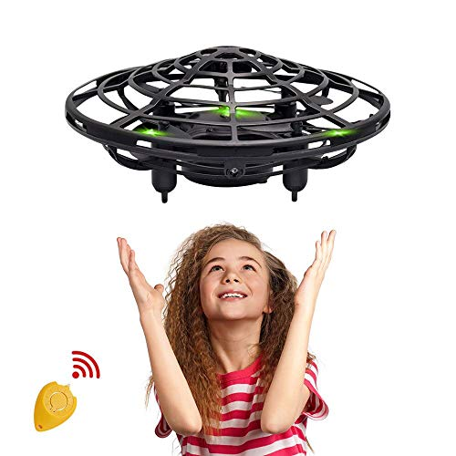 (RC Flying Ball Toys, Latest Hand-Controlled Mini Drone Helicopter with Remote Controller, Infrared Interactive Induction UFO Flying Heli Ball Toys with 360° Rotating & LED Lights for Kids (Black))