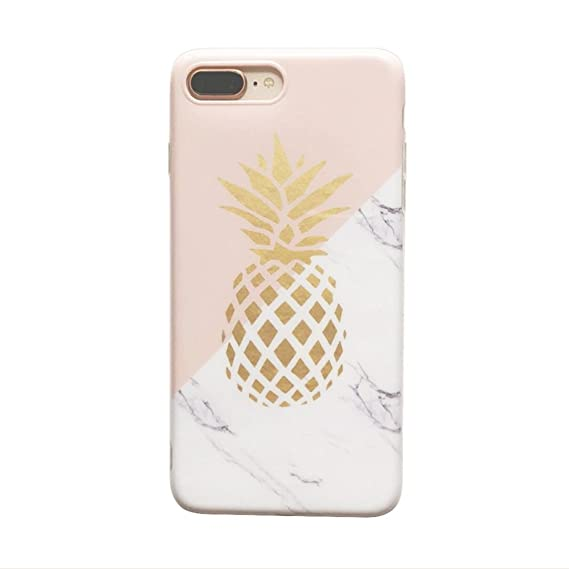 more photos ff239 76610 YeLoveHaw Flexible Soft Slim Fit Case with Marble and Pineapple Pattern for  iPhone 7 Plus/8 Plus (Marble Pineapple)