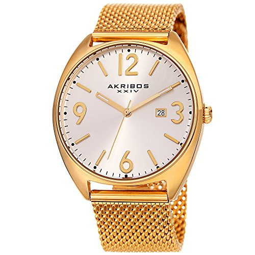 (Akribos XXIV Men's Watch – Fashionable Gold Tone Stainless Steel Mesh Bracelet White Sunburst Dial and Date Window – Tonneau Analog Quartz – AK1026YG )