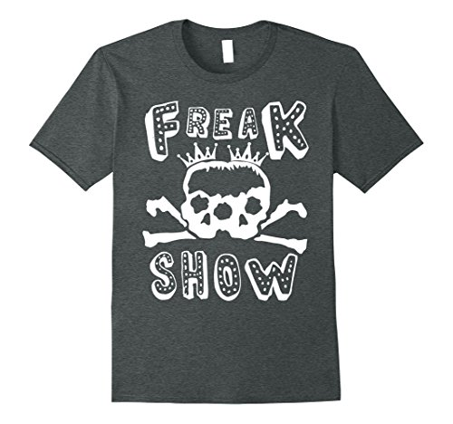 Mens Freak Show Halloween Double Skull T-Shirt 2XL Dark Heather ()