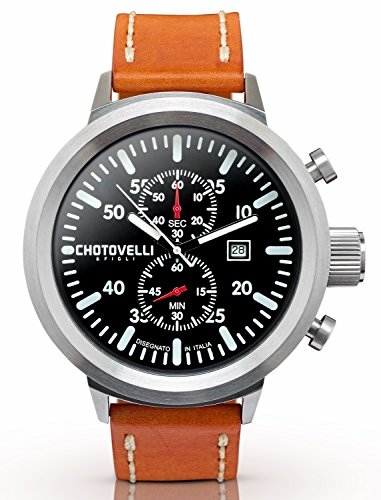 Chotovelli Big Pilot Mens Watch- Chronograph Display, Sapphire Glass,Italian Oily Tan Leather Strap - Watches Uboat