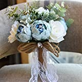 Rustic Wedding Flowers Bouquet Peony Romantic Bride Bridesmaid Bouquet Holding Artificial Silk Flowers With Lace Home Wedding Decoration
