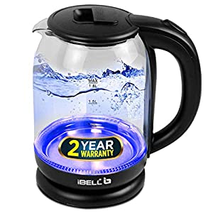 iBELL GEKC18LPLUS Electric Kettle, Glass Kettle, 1500 Watt, 1.8 Ltrs, with LED Light, Tempered Glass