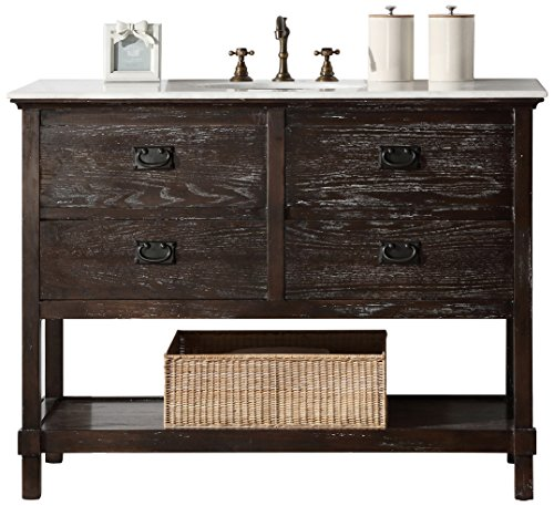Legion Furniture WH5248 Solid Wood Sink Vanity With Marble Top and Without Faucet, 48