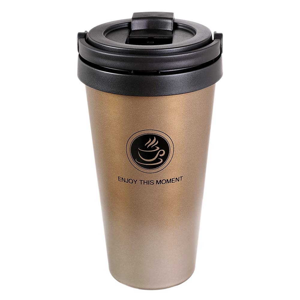 Octto Classic 17oz Coffee Cup, Coffee Mug with Quick Seal Spill Stopper, Reusable Eco-friendly Coffee Cup, Double Stainless Steel Matte Texture, No Scald Hand. (Gold)