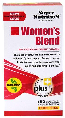 Super Nutrition Women's Blend Antioxidant Rich Multi-Vitamin Iron Free -- 180 Tablets - 2PC (Super Nutrition For Women)